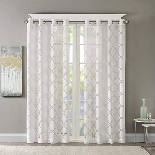 Madison Park Eden - Tende per camera da letto, moderne e contemporanee, per soggiorno, motivo geometrico con passante, 50 x 95 cm, colore: Bianco