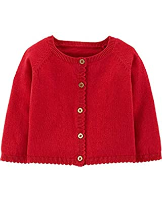 Carter's Baby Girl's Button Front Cardigan Sweater (3 Months, Red)