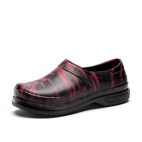 FlowerZone Men Black Shoe Chef Nurse Shoes Non Slip for Oil Resistant Waterproof Safety Work for Crews Gardener Men Women Indoor and Outdoor Slippers Sneakers for Kitchen Office Seaside