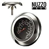 Nuzzo Tech - Barbecue Termometro Sonda Coperchio Temperatura Indicatore Forno Fino a 500 Gradi per Grill/Smoker/Forno/Grill in Acciaio Inossidabile.