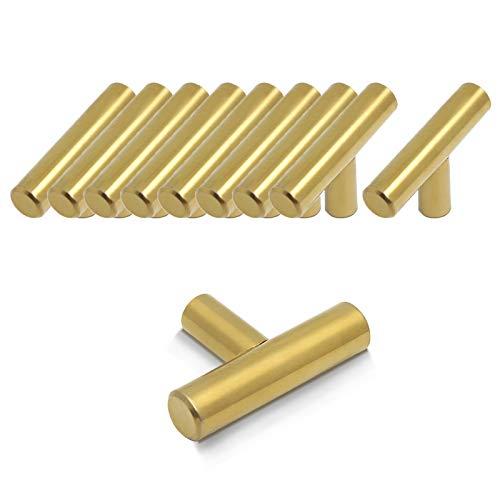 Probrico Maniglia in acciaio inox per mobiletti da cucina, antine, cassetti, credenze, Gold, Length:50mm