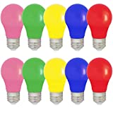 10er Set farbige LED Leuchtmittel Birnenform 1.5W E27 gemischt Rot Gelb Grün Blau Rosa, farbige Glühbirnen Party Glühbirnen