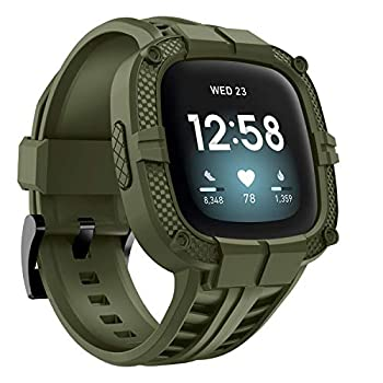 GELISHI Compatible with Fitbit Versa 3 Bands with Bumper,TPU Sport Protective Case Rugged Protector Replacement Strap Accessories for Fitbit Sense/Fitbit Versa 3 Smart Watch  ArmyGreen