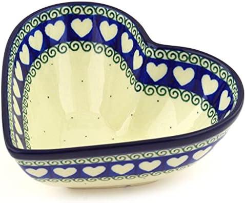 Polish New life Pottery 6¾-inch Heart Shaped Bowl by Washington Mall Ceramika Artyst made