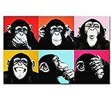 zxianc Impresiones de imágenes de Animales Andy Warhol Mono Colorido Animal Poster Print Lienzo Pinturas para la Sala de Estar Arte de la Pared Cuadros de Pintura 70x100cm Sin Marco