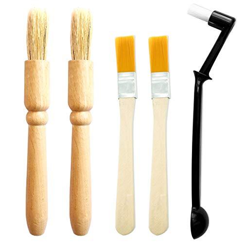 5 pezzi Spazzola per pulizia macinacaffè,manico in legno pesante e setole naturali Spazzola per detersivo in polvere di legno e spazzolino per macchine espresso in nylon con cucchiaio per macinacaffè