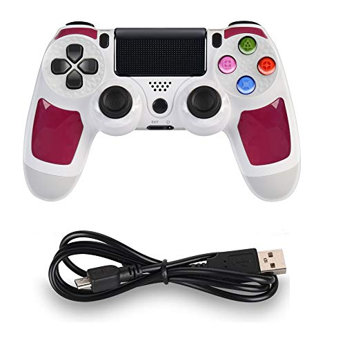 PS4 Controller MOVONE Wireless Controller with USB Cable for Playstation 4 (White+Violet)