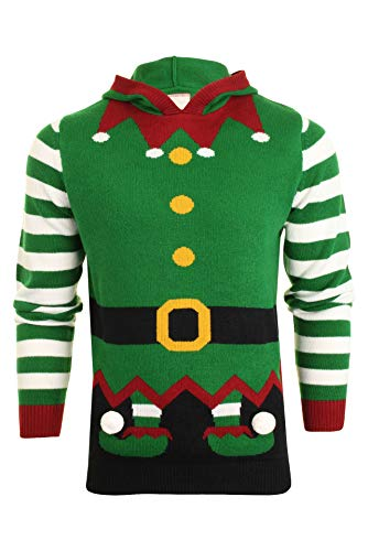 Xact Mens Christmas Elf and Rudolph Reindeer Xmas Jumper (Elf - Green) XL