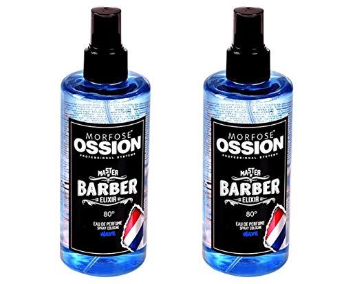 Morfose Ossion Eau de Cologne 2x 300ml [=600ml] Kolonya 80° Alkoholgehalt, desinfizierend, Master of Barber Elixir, After Shave Spray Cologne langanhaltender Herren Duft (Wave)