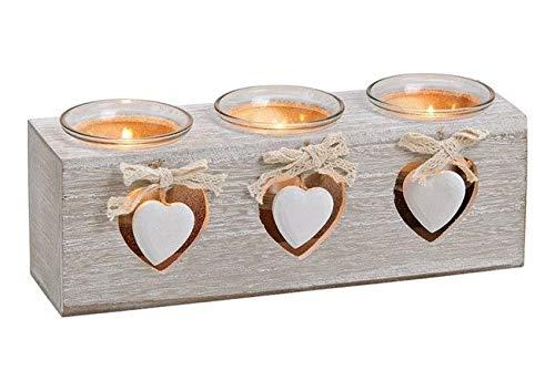 Teelicht 3er Herz Dekor Holz, Glas Weiß (B/H/T) 24x8x7cm