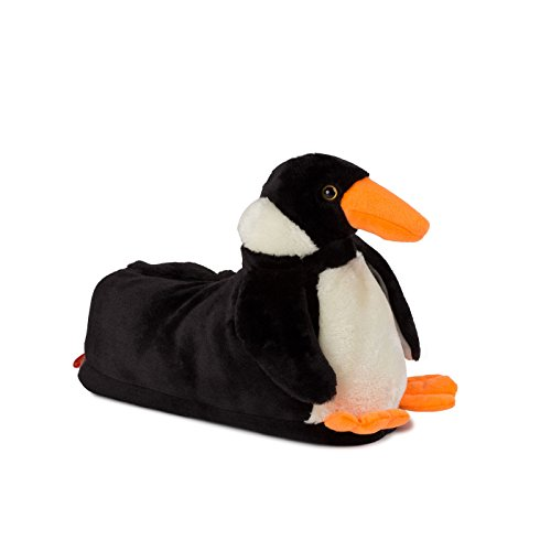 funslippers Damen Hausschuhe Tierhausschuhe Puschen Pantoffeln Schlappen Pinguin Schwarz Plüsch Warm Gepolstert Sneakersohle rutschfest S 36/38 EU