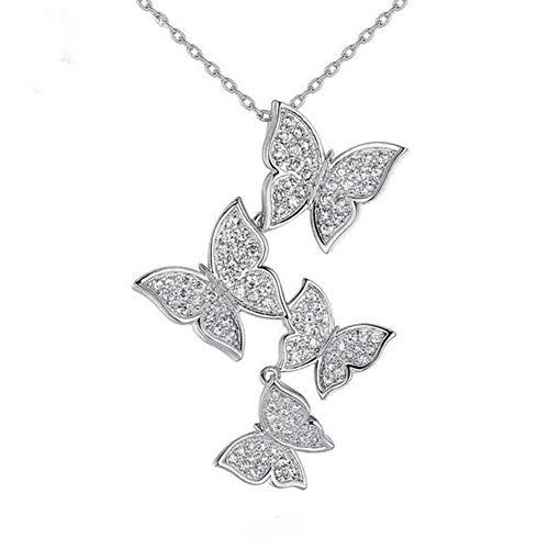 Circón Diamante Mariposa Colgantes Collar Cadena de clavícula Diamante de imitación Plata Gargantilla ajustable Mujeres Señoras Niñas Cumpleaños Boda Día de San Valentín Joyería Regalos