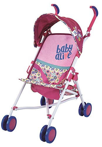Baby Alive Doll Stroller with Retractable Canopy (D82091), Safety Harness for Baby Doll, Two-Toned Handle & Wheels, Storage Basket, Fits Dolls up to 24 inches - Foldable for Easy Toy Storage, Age 3+