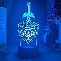 Tatapai アニメライトゲームゼルダの伝説リンクの剣と盾のサイン子供のためのナイトライトランプを導いた子供部屋の装飾ファンのためのクールな誕生日プレゼント