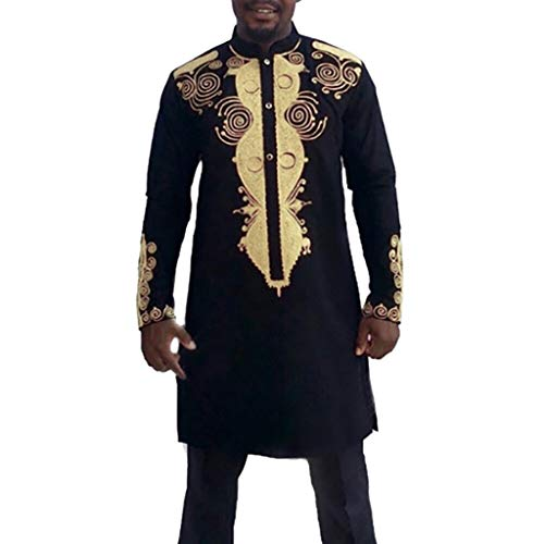 Men 2 Piece African Dashiki Stand Up Collar Shirts Basic Long Sleeve Slim Fit Hot Gold Printed Party Outfit (XXXL, Black)