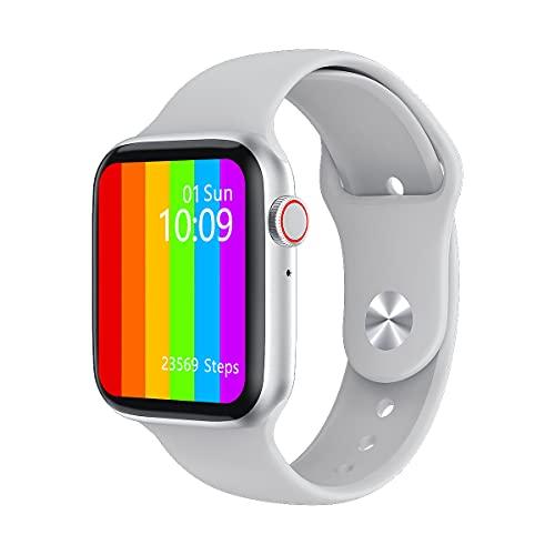 Smartwatch w46, 44mm, com personalização de watchfaces, mensagens de redes sociais, 1.75 polegadas, com IP68 (Prata)