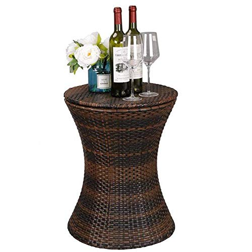 YONG Wicker Rattan Outdoor Patio Side Table, Cool Bar Outdoor Patio Furniture and Hot Tub Side Table for outdoor bars, Brown