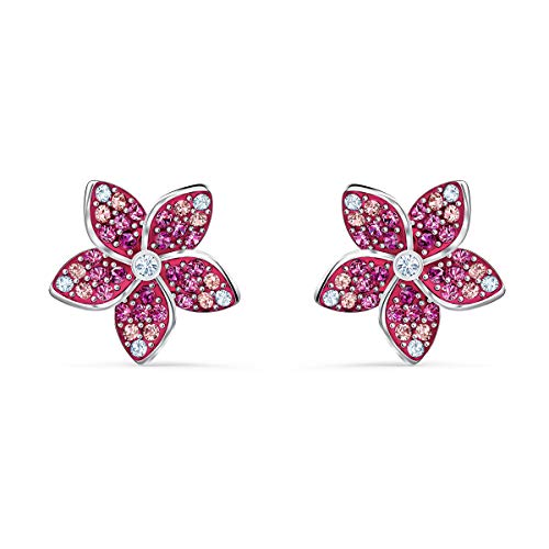 Swarovski Orecchini Tropical Flower, Rosa, Placcato Rodio