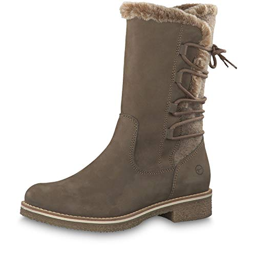 Tamaris Damen Stiefel 26468-23, Frauen Winterstiefel, Winter-Boots fellboots Fellstiefel gefüttert warm reißverschluss Damen,Taupe,37 EU / 4 UK