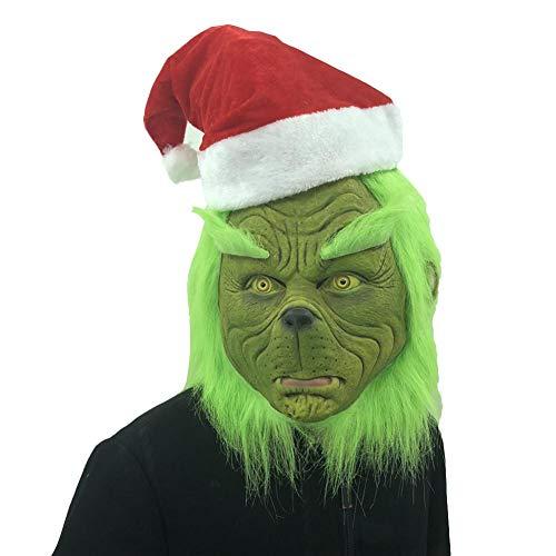 Blentude - Costume da mostro spaventoso per Natale, colore: verde, True hat Grinch