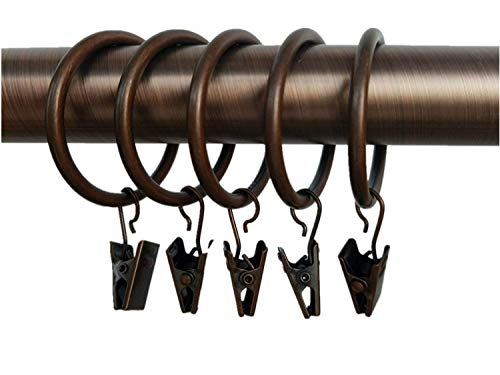 """Xin store 40-Pack Copper Metal Curtain Rings with Clips (1.5"""")"""