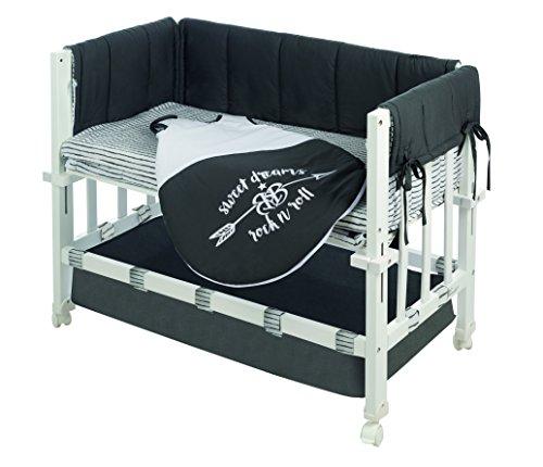 Minicuna robakids 3 en 1 \'Rock Star Baby 3\', cuna de colecho, minicuna y asiento para niños, madera lacada en blanco, incluye vestiduras y saco de dormir