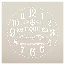 Provincial Round Clock Stencil - French Antique Words - DIY Paint Wood Clock Small to Extra Large Farmhouse Country Home Decor - Select Size (14)