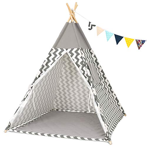 GIGALUMI Kids Teepee Tent Children Play Tent Tipi Indian Style Playhouse with Banner, Floor Mat, Window for Indoor and Outdoor Wave