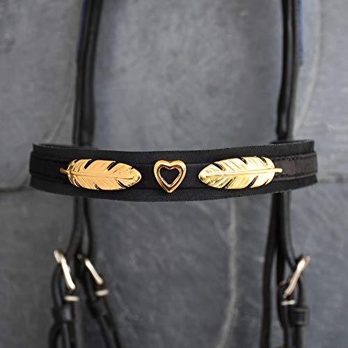 GlücksHucke Pferde Stirnriemen mit Metall-Herz & Federn in Gold - Besonderes Trensen Stirnband in gerader, breiter Form (WB)