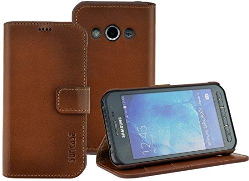 Suncase Book-Style (Slim-Fit) für Samsung Galaxy Xcover 3 (SM-G388F) Ledertasche Leder Tasche Handytasche Schutzhülle Hülle Hülle (mit Standfunktion & Kartenfach) burned - cognac