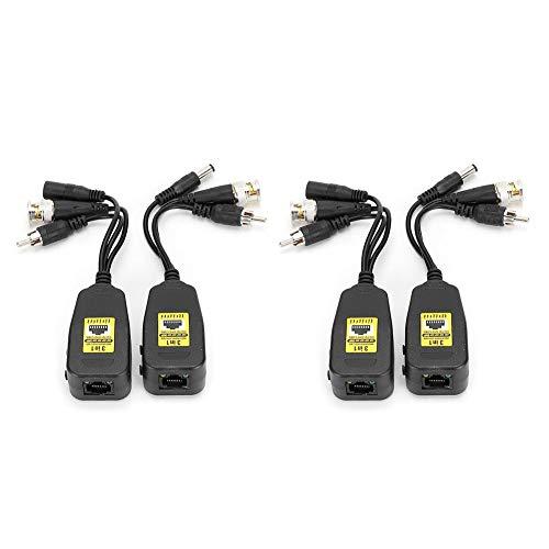 Tangxi Balun Video passivo, 2Pair 3-in1 Power + Video + Audio Balun Connettore Trasmettitore 8MP CVI/AHD/TVI/CVBS per Telecamera di sorveglianza di Sicurezza CCTV