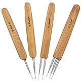 4 Piezas Agujas de Ganchillo con Mango de Bambú Armadura Agujas Dreadlock...
