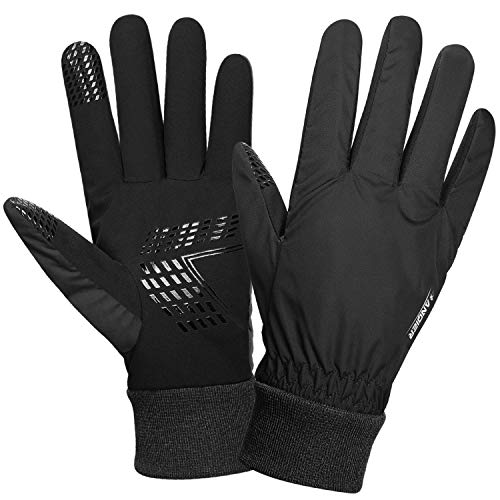 Anqier Winter Gloves for Men Women Thermal Waterproof Warm Fleece Gloves Driving Running Cycling Cold Weather Gloves (Black, Medium)