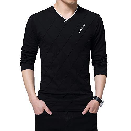 Derrick Aled(k) zhuke Camiseta para Hombre Ajustada Larga Elegante con Cuello En V Camiseta Deportiva para Hombre OtoñO Invierno De Manga Larga con Fondo De AlgodóN De Talla Grande