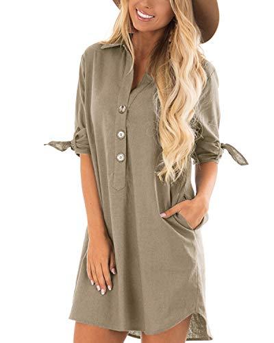 CNFIO Sommerkleid Damen Elegant Kleider V-Ausschnitt 1/10 Ärmel Einfarbig Shirt Design Kurz Blusenkleid Minikleid Strand Kleider B-Kahki EU40-42