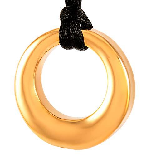 JJPRFO Cremación Jewelryround Ur Colgante de Acero Inoxidable cenicero conmemorativo de cenicero-Oro