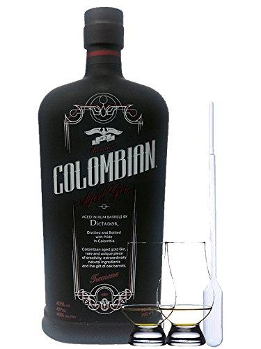 Dictador Colombian TREASURE (black) Dry Gin 0,7 Liter + 2 Glencairn Gläser und Einwegpipette