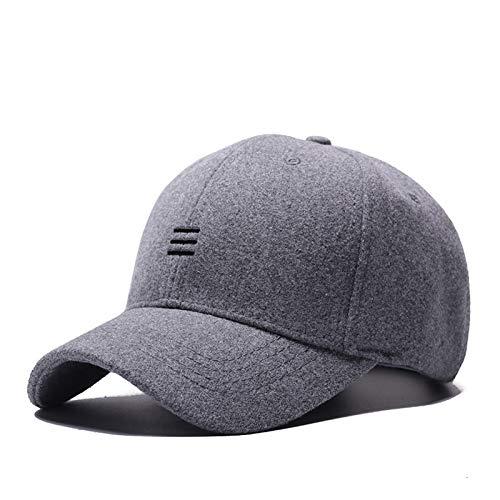 Winter hat Dad Winter Headwear Male Warm Felt Sports Cap Man Big Size Baseball Hats 55-60cm, 60-65cm Hats & Headwear (Color : Gray, Size : 55 to 60cm)