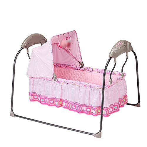 Hamaca Bebé Mecedora Bebe Multifuncion, con Musica Vibraciones Y Arco De Juguetes,ergonómica De Balanceo Natural, Plegable Y Portátil (Color : Pink)