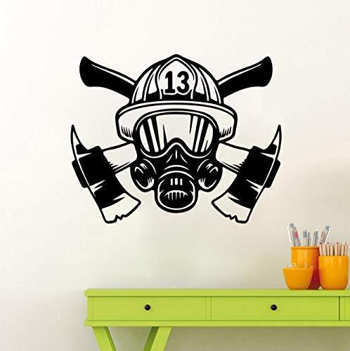 Grote Brandweerman Masker Helm Tools Muur Sticker Slaapkamer Speelkamer Brandweerman Hoed Axe Muur Sticker Jongen Kamer Vinyl Home Decor 56 Cm Breed X 45 Cm Hoog