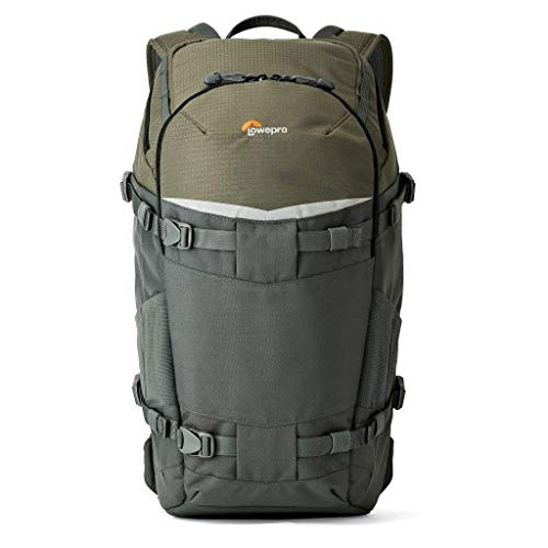 Lowepro LP37015-PWW, Flipside Trek BP 350 AW Backpack for Camera, Stores DSLR with Lens Attached, Extra Lenses, Tripod, 10 Inch Tablet Grey/Dark Green
