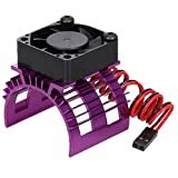 GoolRC Aluminum Alloy Motor Heatsink Cover with Cooling Fan for 540 550 Brushed Motor 3650 Brushless Motor Compatible with WLtoys A959-B A979-B 144001 124019 1/12 /14 RC Car (Purple)
