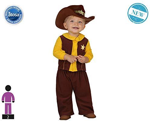 Atosa-61324 Atosa-61324-Disfraz Vaquero-Bebé + 24 Meses-NIño-Marrón, color (61324)