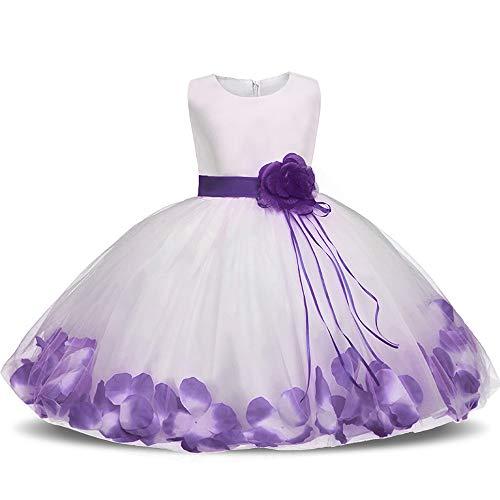 Vestido de cumpleaños de flor rosa para niñas, vestido de tutú de niña de flores de tul princesa, adecuado para la boda Fiesta de Navidad Cosplay Belleza Carnaval Vestimenta fotográfica Vestir ZDDAB
