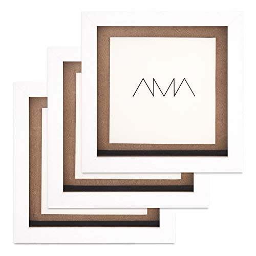 AMA Nuevo - Marco para vinilos, para Discos Individuales, Dobles o triples, Madera de Haya, Blanco (Pack 3)