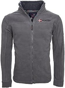 Geographical Norway Forro polar caliente para hombre, chaqueta de invierno, chaqueta de entretiempo, exteriores gris oscuro XXXL