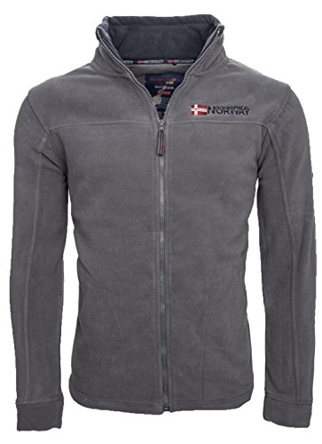Geographical Norway warme Herren Fleece Winter Übergangs Jacke Outdoor Sweat [GeNo-8-Dunkelgrau-Gr.L]
