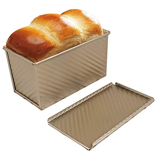 Loaf Pan 4x7.7inch, Loaf Pans for Baking Bread / Meat Loaf / Toast, Golden Corrugated Carbon Steel Nonstick Bread Pan with Lid, for Oven Baking by FUNZON (Golden)