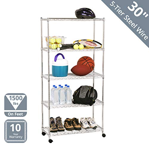 Seville Classics 5-Tier Steel Wire Shelving with Wheels, 30'...