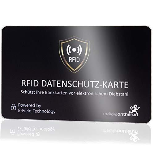 DEKRA geprüfte RFID Blocker Karte (MakakaOnTheRun, 1 STK): RFID Schutz 3fach geprüft, neueste NFC Technologie, stärkste RFID Blocker Karte mit Störsender, bis 9cm Schutz. Bekannt aus TV & Radio!